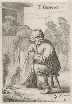 Salomon Savery | Het Gehoor, Salomon Savery, 1638 - 1665 | Een man zit op een krukje met een doek in zijn handen bij een houtvuur. Hierachter voeren twee figuren een gesprek bij de deuropening. De prent maakt deel uit van een zesdelige serie prenten met voorstellingen van de vijf zintuigen (ongenummerde titelprent).