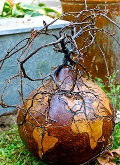 A Hobbit World Gourd Art  Fairy Garden Fantasy  Wood Nymph Hidden Forest Wood Burned World Map Sculpted with Roots & Vin