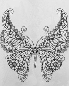 Adult Coloring Book Treasury: 110 illustrations from 55 artists Detailed Coloring Pages, Fall Coloring Pages, Adult Coloring Book Pages, Animal Coloring Pages, Coloring Books, Butterfly Mandala Tattoo, Butterfly Drawing, Butterfly Tattoo Designs, Butterfly Design