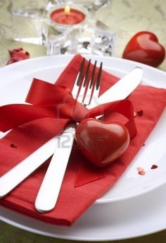 Valentine Table Setting place. Romantic dinner concept. Stock Photo