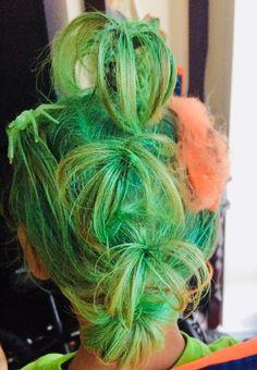 Green sprayed hair with orange spider web and spiders Crazy Hair Days, Crazy Day, Orange Spider, Spiders, Dreadlocks, Hair Styles, Health, Green, Hair Plait Styles