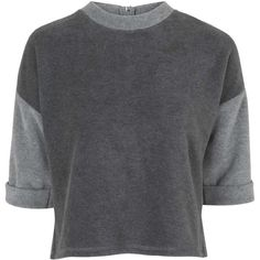 TOPSHOP Colour Block Tee ($58) ❤ liked on Polyvore featuring tops, t-shirts, grey, jumper, sweaters, zipper t shirt, grey t shirt, open back t shirt, zipper top and grey tee