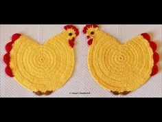 Crochet Chicken Placemat-Chicken Placemat-Crochet Table Placemat for Beginners. Crochet Chicken Placemat-Chicken Placemat-Crochet Table Placemat for Beginners. A simple and easy table placemat Crochet in the shape of . Placemat Crochet explained in few Crochet Potholder Patterns, Crochet Placemats, Crochet Dishcloths, Crochet Doilies, Knitting Patterns, Loom Knitting, Easter Crochet, Crochet Crafts, Crochet Baby