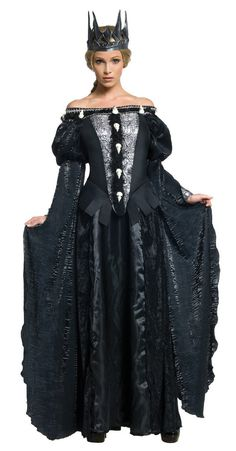 Description #880896 Become evil queen Ravenna this Halloween from the classic Snow White fairy tale. The Ravenna Skull Costume includes a full length black dress with molded skull trim. The character