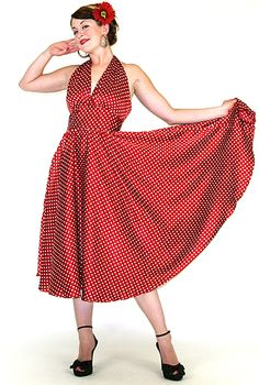 Broad Minded Clothing - 1950's Little Miss Fancy Pants Red Polka Dotted Halter Swing Pin Up Girl Dress $98.00
