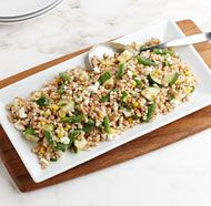 Israeli Couscous Salad with Corn, Green Beans and Goat Cheese - Recipe - FineCooking Israeli Couscous Salad, Couscous Salad Recipes, Pasta Salad, Goat Cheese Recipes, Goat Cheese Salad, Fine Cooking Recipes, Wine Recipes, Light Pasta, Food & Wine Magazine