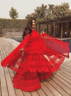 Red on red net jacket lehenga. Click on picture to see lehenga price. #Frugal2Fab