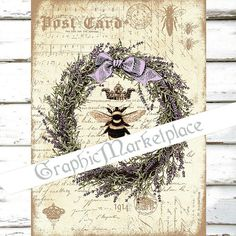 Lavender Bee Herbs Lavande Large Image by GraphicMarketplace