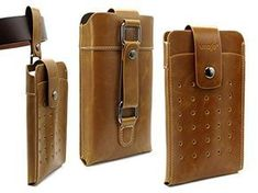 Brown Retro Premium Leather Pouch Sleeve Double Pockets B. Pocket Holster, Phone Holster, Diy Leather Gifts, Leather Bags Handmade, Leather Belt Bag, Leather Wallet, Leather Holster, Pu Leather, Htc One M9