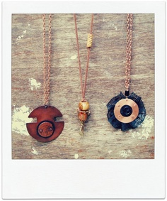 Alex Malex Handmade Copper necklaces with ceramic and lace elements.