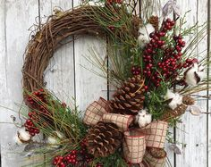 Country Christmas Wreath, Christmas Wreaths, Country Christmas Wreath, Artificial Pine Christmas Wreath for Door