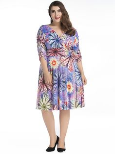 Floral Women Print Hem Pleat V-Neck Half Sleeve Dress