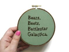 Office Quote Embroidery Hoop - Light Green $26.00, via Etsy.