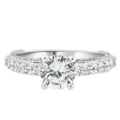 1.25 Carat Cubic Zirconia CZ Wedding Engagement Ring - Sterling Silver Rhodium