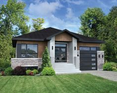 The stone, wood and aluminum facing, the abundant windows and the sloping porch above the entrance truly enhance the architecture of this elegant bungalow. The house is 38 feet wide by 46 feet deep, provides square feet of living space and has a 254 Modern Mountain Home, Small Modern Home, Duplex Design, Bungalow House Design, House Paint Exterior, Dream House Exterior, Stone Kitchen Island, Small House Plans, House Goals