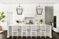 Recently, we talked about Kitchen Remodeling 101 with Bria Hammel, our Brand Ambassador. We decided to follow back up with her and talk further, this time addressing a very common problem: How do you renovate small kitchens? We asked Bria for her top three tips – and got an extra one for good measure! Kitchen Marble, Home Decor Kitchen, White Marble Countertops, Kitchen Remodel, Kitchen Decor, Lake House, White Kitchen Island, Shop Interiors, Stools For Kitchen Island