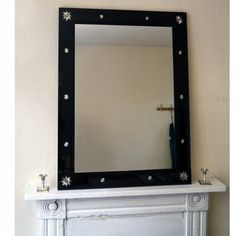 Black Star and Garter Bespoke Mirror. A frame of dark bevelled glasses enhanced with corner and side 'glory' stars encases a plain central mirror. Contemporary Mirrors, Black Star, Get Directions, Garter, Bespoke, Bath, Traditional, Stars, Sterne