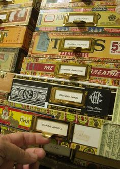 cigar boxes, love the eccentricity and maximum use of space on these! still the colors are kept within the same range(of each individual box) keeping it somewhat coherent.