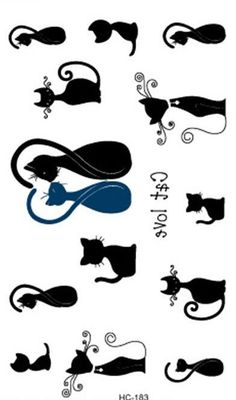 Temporary tattoos Waterproof tattoo stickers body art Painting for party event decoration black cat long tail Wholesale