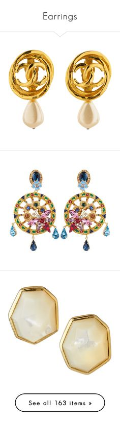 """""""Earrings"""" by gorgeouslor ❤ liked on Polyvore featuring jewelry, earrings, gold, pearl earrings, clip on drop earrings, tri color earrings, multi colored pearl earrings, chanel earrings, sparkly earrings and gemstone drop earrings"""