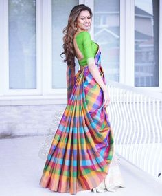 hen they decide to print happiness on a saree 💗💙💚💛💜 This beauty is from Saree Wearing Styles, Saree Styles, Lehenga Saree, Saree Dress, Ethnic Outfits, Indian Outfits, Stylish Sarees, Stylish Dresses, Saree Look