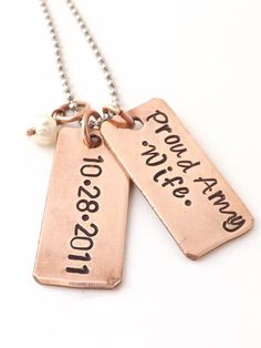 Two Copper Dog Tag Necklace Hand Stamped, Proud Army Wife with Dates- Army Wife Jewelry, Military Wife, Deployment Jewelry