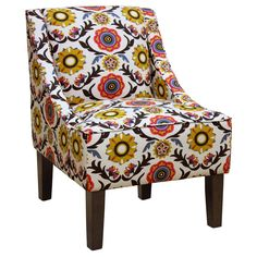• Colorful, eye-catching pattern<br>• Sleek, swooping lines<br>• Rich cotton upholstery<br>• Sturdy wood frame<br>• Supportive Dacron foam cushions<br>• Contemporary espresso-finished wood legs<br>• Spot clean only<br>• Assembly required<br><br>The Hudson Swoop Arm Chair from Threshold makes a bold and contemporary statement in any living space. This beautiful accent c...