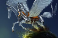 pictures of fantasy horses | ... fantasy_horse_pegasus_wings_armor_mithril_picture_image_digital_art