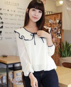 The blouse crafted in chiffon, featuring sweet flouncing turndown collar with navy blue edges and lace-up fastening, long sleeves with navy blue cuffs and relaxed fit. Preppy Style, My Style, Online Fashion Stores, What To Wear, Bell Sleeve Top, Chiffon, Fancy, Street Style, Long Sleeve