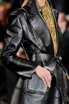 Ralph Lauren Fall 2012, love the gold sparkly scarf with the blk leather
