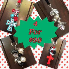 SALE 4 Rear View Mirror Charms for 99 Mix and by TheBadaBling