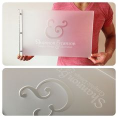 Custom graphic design portfolio book with engraving and cut-out treatment on frosted clear acrylic