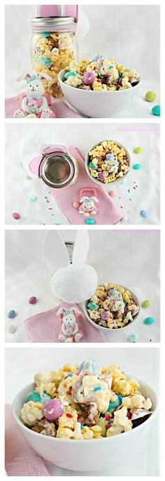 The perfect Easter Candy!  Bunny Tail Mix combines the flavors of salty & sweet into one gorgeous Spring snack.