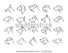Discover this and millions of other royalty-free stock photos, illustrations, and vectors in the Shutterstock collection. Thousands of new, high-quality images added every day. Silhouette Tattoos, Dog Silhouette, Silhouette Portrait, Side Tattoos, Dog Tattoos, Animal Line Drawings, Dog Drawings, Side View Drawing, Side Portrait