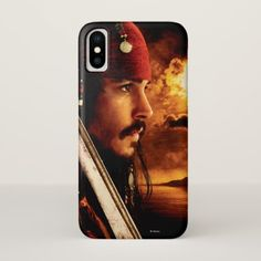 Jack Sparrow Side Face Shot iPhone X Case - red gifts color style cyo diy personalize unique