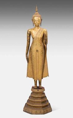 Bid Live on Lot 1076 in the Auction Art, Antiques, Collectibles Auction from Schuler Auktionen AG. Thai Buddha Statue, Buddha Statues, Buddha Kunst, Buddha Art, Laos, Art Thai, Cambodian Art, Standing Buddha, Religion