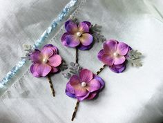 Purple flower bridal bobby pins purple flower by HollyHoopsArt