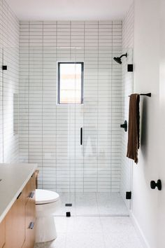 Our Austin Casa The Terrazzo Guest Bathroom Reveal The Shower Tile, Bathroom Interior Design, Bathroom Makeover, Guest Bathroom, Modern Bathroom, Bathroom Renovations, Guest Bathrooms, Bathroom Flooring, Bathrooms Remodel