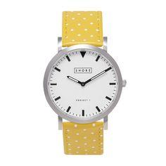 Sunny yellow polka dot strap watch.