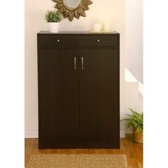 Hokku Designs Brick Modern Five-Shelf Shoe Cabinet with Two-Drawer in Coffee Bean $173.99