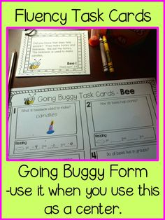 Teach123 - tips for teaching elementary school: Going Buggy - Insect Fluency Task Cards