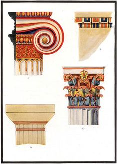 reconstruction of Painted decoration on ancient Greek capitals - temple architecture - Ionic, Doric and Corinthian