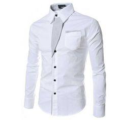 Camisa Casual Elegante Masculina Formal Manga Longa Slim Fit Limpa