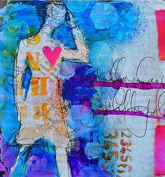 dina 07 by dinawakley Art Journal Pages, Art Journals, Visual Journals, Mixed Media Art, Mix Media, Art Journal Inspiration, Mail Art, Figure Painting, Art Techniques