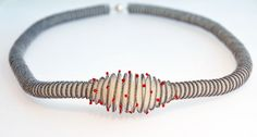 Anke Hennig, necklace - necklace – ecru, grey, stitched with red glass beads