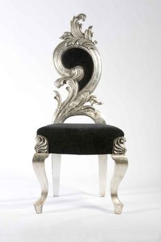 Italian Renaissance chair from Against The Grain, small model with silver/black finish.