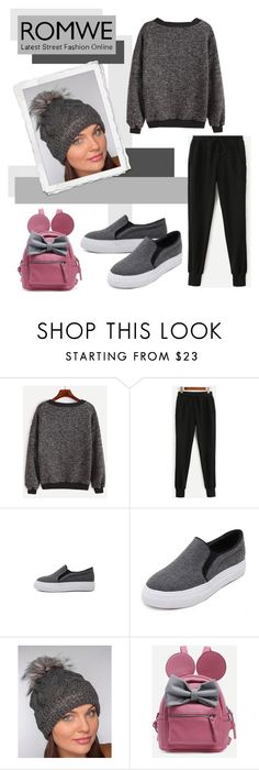 """""""ROMWE: Contrast Trim Ribbed Sweatshirt"""" by rmhodgdon ❤ liked on Polyvore featuring romwe"""
