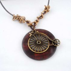 Antique Vintage Long Rope Chain Necklace Wooden Alloy Bicycle Pendants Neckless Cord Men Jewelry Accessories Free Shipping