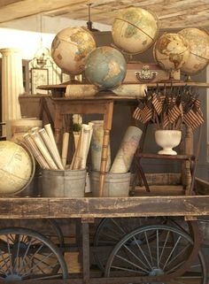 """Old buckets with rolled up maps. For my ledge - theme is """"TOGETHER it's a great place to be"""""""