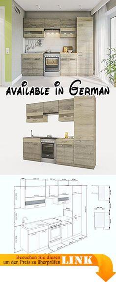 B00PJE0KH0  Küche Köln 172x280 cm Küchenzeile in Sonoma Eiche - küchenblock 260 cm